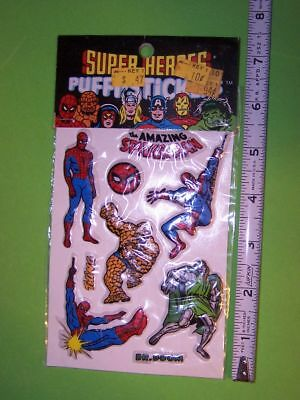 1979 Marvel Comincs Group Super Heroes Puffy Stickers Spiderman - Thing Moc