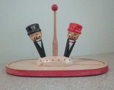 Vintage Retro Wooden Tray Tooth Pick Holder & Salt Pepper Shakers Kitsch