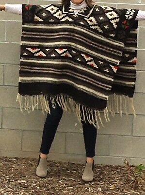 Antique VTG Native American Tribal Hand Woven Alpaca Wool Serape Rug Poncho Cape