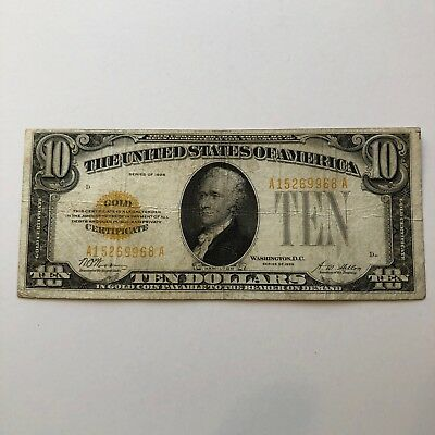 1928 $10 Gold Certificate Fine Circulated Condition Wood-Mellon Nice