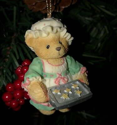Cherished Teddies Ornament. Girl Bear Holding a Tray of Cookies Item # 625426
