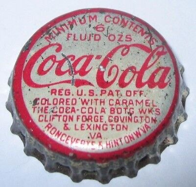 Coca-Cola Soda Bottle Cap; Lexington, Va; Ronceverte & Hinton, Wva; Used Cork