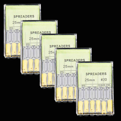 5XDental Stainless Steel TAPERED FINGER SPREADER 25mm 20# Endo Root Canal files