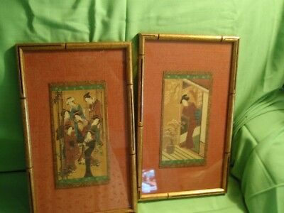 Stunning  Pair Of Japanese  Geisha Women Gilt Bamboo Frames Linen Backing