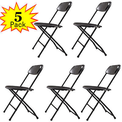 Set of 5 Plastic Folding Chairs Stackable Wedding Party Event Commercial Black