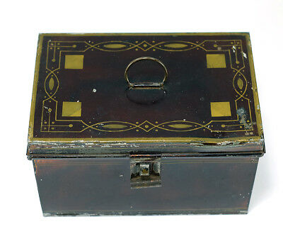 Late 1800s Primitive Tin Japanned Stenciled Spice Box