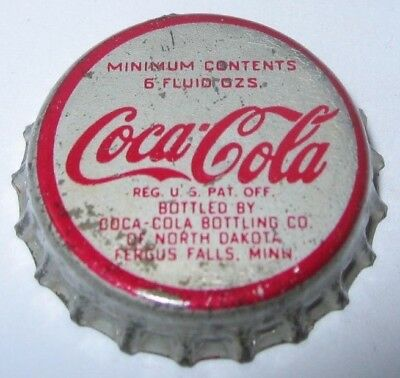 COCA-COLA SODA BOTTLE CAP; 1950's; FERGUS FALLS, MINNESOTA; USED CORK
