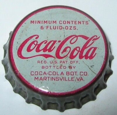 COCA-COLA SODA BOTTLE CAP; 1950's; MARTINSVILLE, VIRGINIA; USED CORK