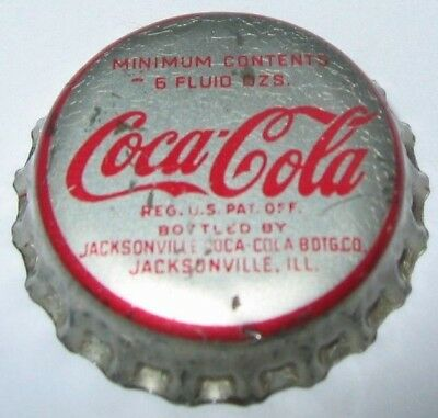 COCA-COLA SODA BOTTLE CAP; 1950's; JACKSONVILLE, ILLINOIS; USED CORK