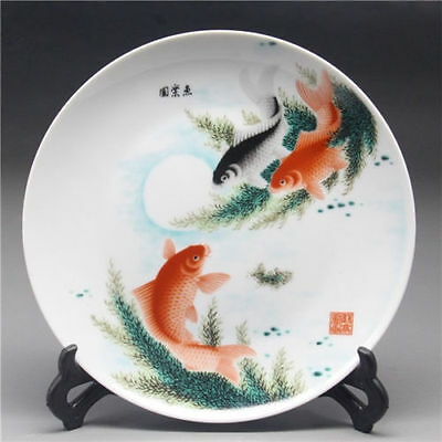 Chinese Famille Rose Porcelain  Handwork painted fish Plate w Qianlong Mark