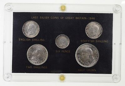 1946 Great Britain George VI Sixpence - Half Crown Silver Year Set 5 Coins *8804