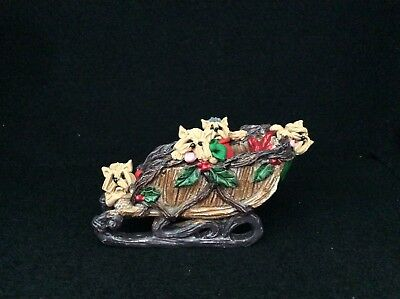 Yorkshire Terrier Yorkie Dogs Christmas Sled Fun Ooak Clay Sculpture