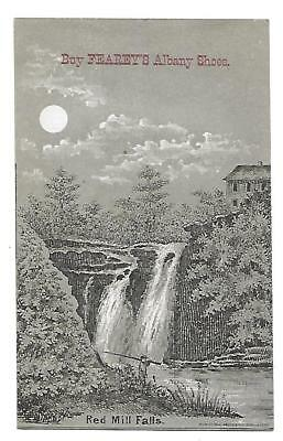 """Fearey's Albany Shoes Victorian Trade Card Providence R. I. """"red Mill Falls"""""""