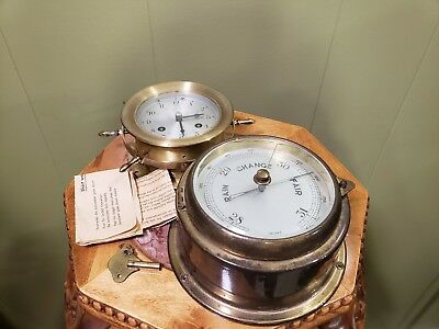 Schatz Ships Bell 8 Day 7 Jewels Clock With Key And Vintage German Barometer!