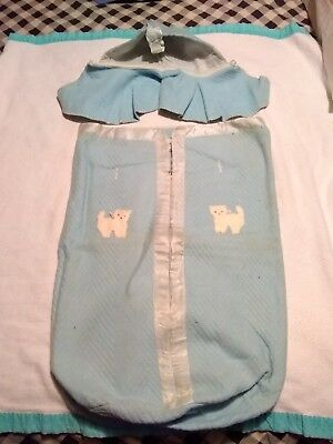 """Vintage Baby/Toddler Zippered Sleeping Bag With Bonnet - 23"""" Long"""