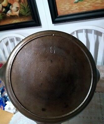 Vintage One Notch  heat ring Lodge Number 6 Cast Iron Skillet Sits Flat