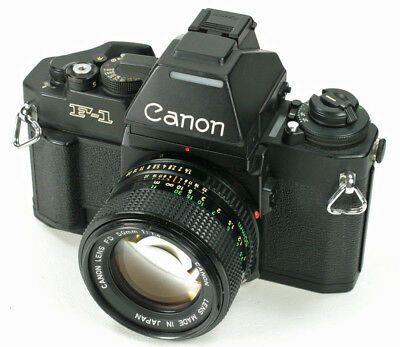 Canon New F1 (F1N) SLR Camera With AE Finder, Lens & Case