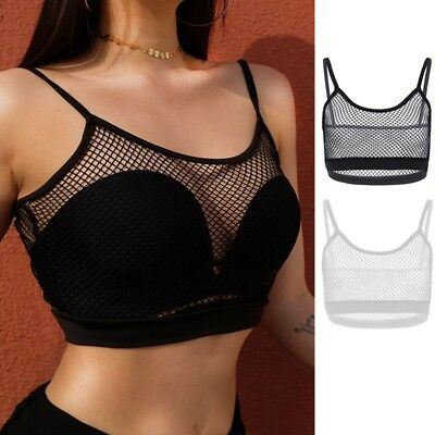 Hot Womens Sexy Fishnet Bralette See Through Vest Crop Tank Tops Camisole Bra