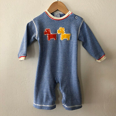 Vintage Baby Boys Girls Romper Jumpsuit with Dogs Size 6 Months