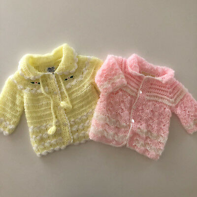 Vintage Baby Girls Hand Knit Sweaters Cardigan 3 - 6 Months Lot of 2