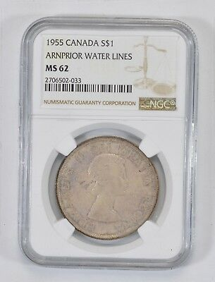 *** MS62 1955 Canada Silver Dollar - Arnprior Water Lines - NGC Graded Slab *766