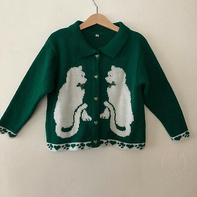 Vintage Little Girls Green Cat Sweater Cardigan Size 6 - 7 Years