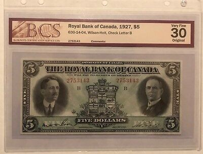 The Royal Bank of Canada 1927 $5 BCS Very Fine-30 Wilson-Holt 630-14-04