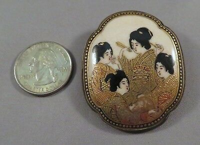 "HUGE Signed 2.5"" Antique Meiji Japanese Satsuma Porcelain Geisha Button Brooch"
