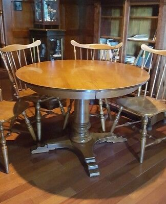 Reduced!   Tell City Maple Pedestal Dining Table And 4 Windsor Style Chairs