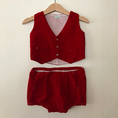 Vintage Baby Boys Holiday Christmas 2 Piece Outfit Toddler 12 - 24 Months