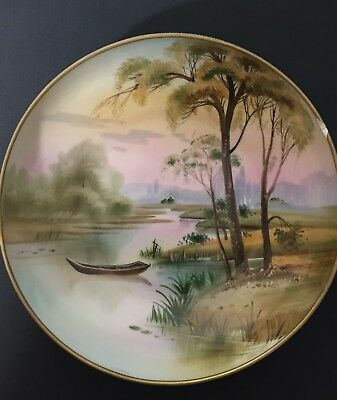 Nippon Japan Beautifully Hand Painted Pond Trees Scene, Plate Gold Trim Chipped