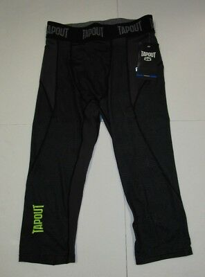 Mens Tapout Gray Stretch Compression Running MMA Fitness Tights Pants Medium