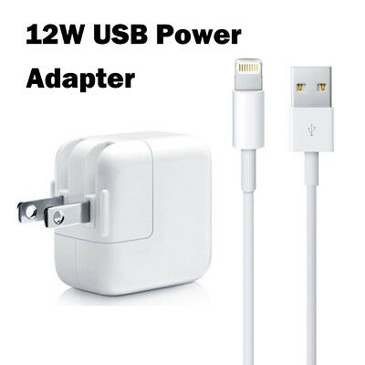 12W USB Power Adapter Wall Charger + Lightning Cable for Apple iPad 2 3 4 Air