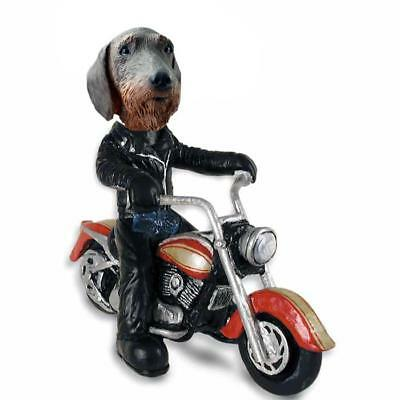 Wire Haired Dachshund on a Motorcycle  Collectible Resin Figurine
