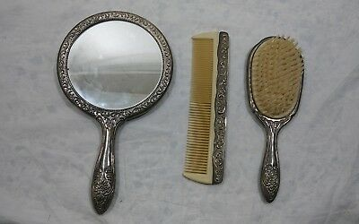 ANTIQUE Art Nouveau Sterling Silver Vanity Ornate Hand Mirror Comb & Brush Set