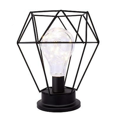 Lewondr Table Lamp Metal Shade Edison Bulb Desk Light Diamond Metal Cage Style