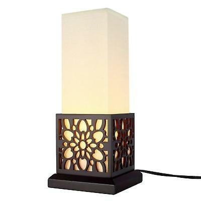 Minimalist Side Table Desk Lamp, Modern Asian Style Bedside Desk Lamp with Solid