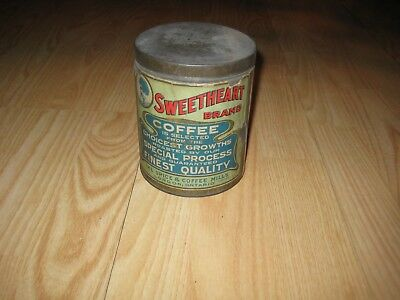 Antique Sweetheart Brand Coffee Tin original paper label