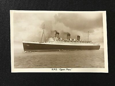 1936 Rms Queen Mary Steamboat Ship Boat Vintage Rare Rps Real Photo Postcard