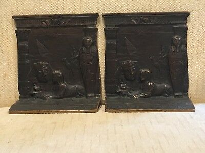 Antique Pair of Egyptian Revival Solid Bronze Bookends Sphinx Pyramid Mummy 3/3