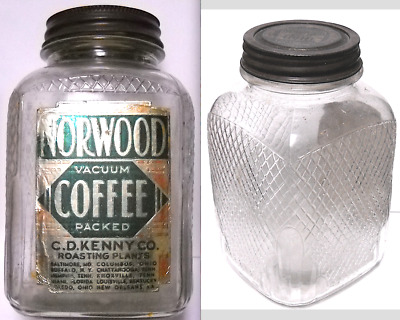 C.D. KENNY'S NORWOOD COFFEE LABELED DESIGN PATENT JAR, BALTIMORE etc.