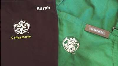 4 Starbucks Aprons - Coffee Master Green And Holiday Red Aprons USED Hat&Nametag
