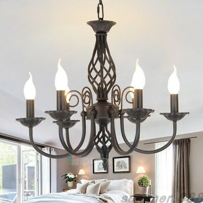 E14 Candle Light Lamp Vintage Wrought Iron Chandelier Black White Metal Lighting
