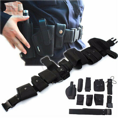 UK Utility Kit Tactical Belt with 9 Pouches for Police Guard Security System HOT