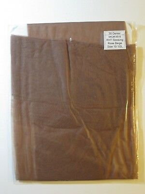 PAIR OF VINTAGE SEAMLESS STOCKINGS.Rose Beige.  FULLY FASHIONED. Size 10 1/2.