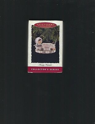 """Hallmark 1996 """"Frosty Friends"""" Shooting Pool Christmas Ornament New in Box"""