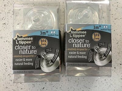 Tommee Tippee Closer To Nature Nipple, 4 Count Medium Flow NEW 3M+ soft Silicone