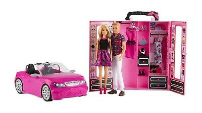 BARBIE Dress up and go to dream car GLAM CONVERTIBLE with two 2 DOLLS MATTEL