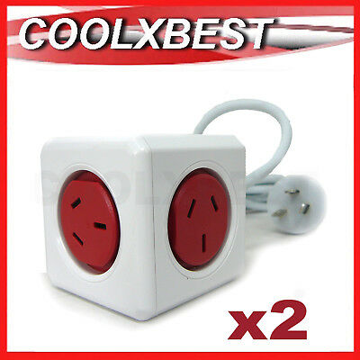2x NEW POWER CUBE EXTENDED 5 OUTLETS BOARD STRIPE 1.5M SURGE PROTECT AV PC AUST