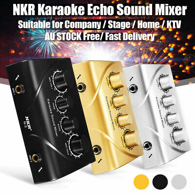 NKR Karaoke Echo Sound Mixer Dual Mic Inputs W/ Cable Home KTV Black Silver